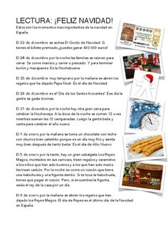 Lectura con los das ms importantes de la Navidad en Espaa.Seguida por preguntas de comprensin.A comprehension reading about the most importante dates at Christmas in Spain.
