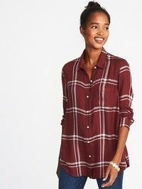 Old Navy Womens Relaxed Classic Soft-Brushed Twill Shirt For Women Burgundy Plaid How To Wear Ankle Boots, How To Wear Leggings, Twill Shirt, Flannel Shirt, Plaid Shirts, Simple Outfits, Cute Outfits, Casual Outfits, Cool Style