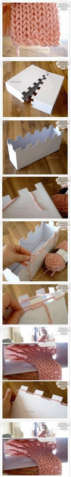 knitting loom from a cardboard box! Tutorial for Crochet, Knitting, Crafts. Yarn Projects, Knitting Projects, Crochet Projects, Sewing Projects, Spool Knitting, Kids Knitting, Giant Knitting, Knitting Looms, Finger Knitting