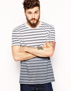 ASOS T-Shirt With Zig Zag And Dip Dye