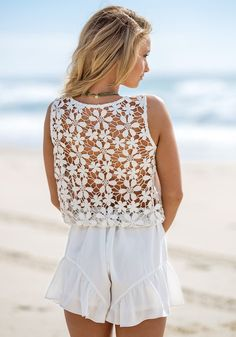 Crochet Floral - White - Sexy Floral Design