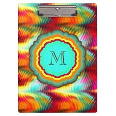 Funky, Vibrant Rainbow Monogram Clipboards