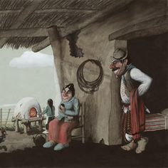 Cartoon, David, Paintings, Folklore, Artworks, Country Man, Cute Things To Draw, Paint, Painting Art