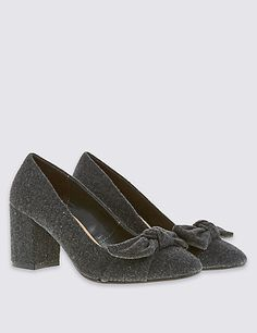 Block Heel Bow Court Shoes with Insolia®   M&S