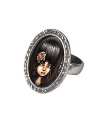 Classic Hardware Anika Victorian Oval Ring Silver Sad Girl
