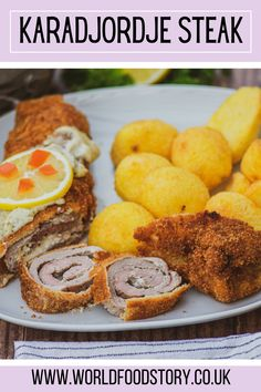 Karadjordje steak is considered to be a traditional Serbian dish. It can be found on the menus of almost all traditional restaurants. Karadjordje steak consists of rolled pork or veal steak stuffed with crème fraiche, that is breaded and then fried.Unlike other traditional dishes, where it is difficult to determine the origin, its origin is very well documented. This is an original dish created by Chef Milovan Mica Stojanovic in 1955, at Belgrade restaurant Golf . Steak Recipes, Keto Recipes, Dessert Recipes, Pork Fillet, Good Food, Yummy Food, Creme Fraiche, Kitchens, Desert Recipes