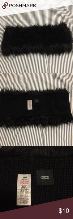 Black Faux Fur ASOS Infinity Scarf Worn less than 5 Times. Black faux fur on the outside, black knit on the inside. Measures 15 inches across. ASOS Accessories Scarves & Wraps