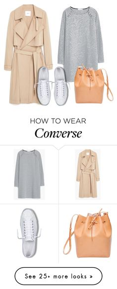 """""""Flowy Trench Coat + White Sneakers"""" by mintzzie on Polyvore featuring MANGO, Converse and Mansur Gavriel"""