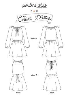 Eliana dress, semi-fitted dress with elastic waistband and gathered neckline, raglan sleeves
