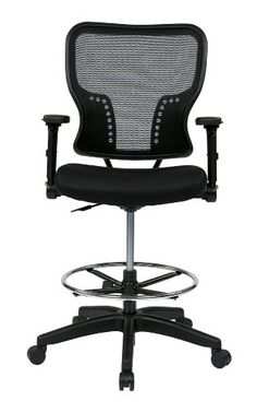 SPACE Seating Deluxe AirGrid Back and Padded Mesh Seat Pneumatic Seat Height Adjustment and 4-Way Adjustable Flip Arms Managers Chair Black