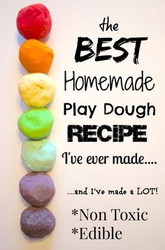DIY Edible Play Dough Recipe: 1/2 cup all purpose flour 1/2 Tbsp. Canola oil 1/8 cup Salt 1/4 cup boiling water 1 pack Kool-aid Mix all ingredients together well. Add flour if sticky.