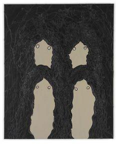 Michael Raedecker: four, 1997 - acrylic and thread