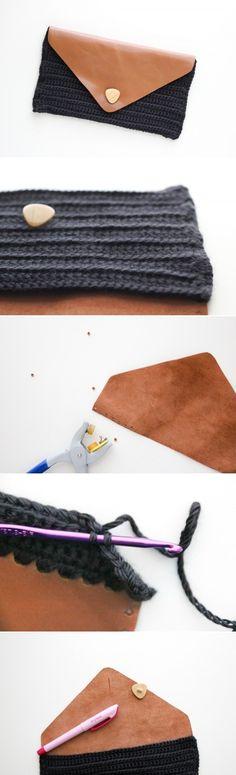 Handmade leather clutch. Though I don't crochet I really like the idea!