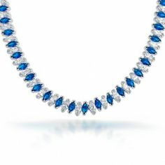 Marquise Clear CZ Sapphire Color Bridal Tennis Necklace Silver #somethingblue