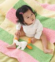 Baby Pom Pom Wide Stripes Blanket