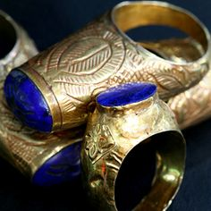 Gold & Lapis Lazuli Rings - Lapis is lucky for me <3
