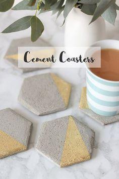 Hexagon Cement Coaster DIY -                                                                                                                                                                                 More