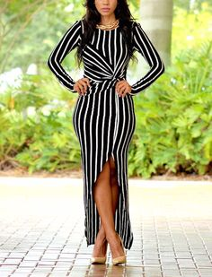 5bc378793d Sexy Irregular Striped Ladies Maxi Dresses. Vestidos Sexy ...