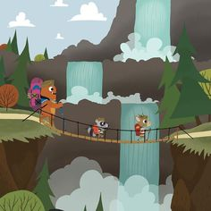 Scouts - Waterfall - Whimsical Storybook Artwork of a small troop of Animal Scouts exploring the great out doors - Chopping Wood  #kidsroomart #kidsart #kidsroom #whimsicalart #adventure #kidsroomwallart #wallart #animals #storybook #kidsbookart #childrensbookart #animals #animalart