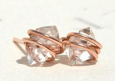 XXLarge 12mm Herkimer Diamond Stud Earrings Handmade by PURYST