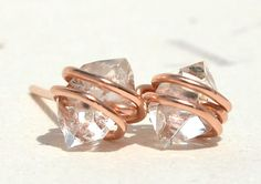 Herkimer Diamond Stud Earrings - Handmade Posts in Rose Gold, Sterling Silver, or Yellow Gold - Size Small 6mm. $38,00, via Etsy.