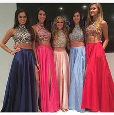 High Neck Two Piece Pink Taffeta Long Prom Dresses 2015, Front Split Mid Section Dark Blue Beadings on Luulla