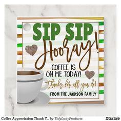 Coffee Appreciation Thank You Gift Tag   Zazzle.com
