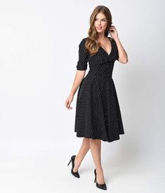 13dc8071a2bb Unique Vintage 1950s Black   White Dot Delores Swing Dress with Sleeves.  Vintage Style Bridesmaid Dresses50s ...