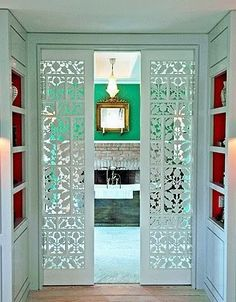 Pocket doors for a bathroom.love the lacy look to the doors Style At Home, Door Design, House Design, Design Design, Design Miami, Cafe Design, Design Elements, Design Ideas, Interior And Exterior