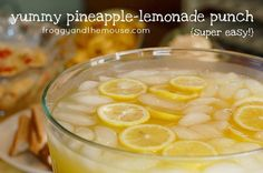1 cup Countrytime Lemonade mix, 2 cups cold water, 1 can of chilled pineapple juice {46 oz}, 2 cans chilled Sprite = best lemonade stand in the neighborhood.