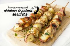 Bacon-Wrapped Chicken and Potato Skewers
