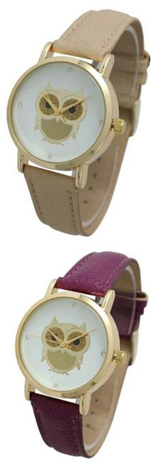 Owl Watches in Deep Purple/Plum and Tan