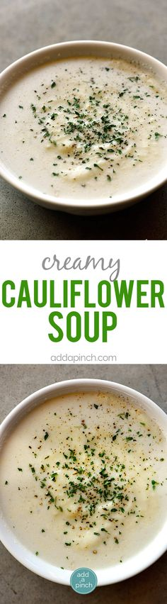 Creamy Cauliflower Soup Recipe - Creamy Cauliflower Soup makes a delicious and comforting soup recipe without a drop of cream! The garlic, onion, and cauliflower are blended together to create a dairy-free, creamy cauliflower soup recipe that everyone loves! // addapinch.com