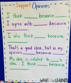 Academic language that students can use when supporting an opinion within a class discussion.