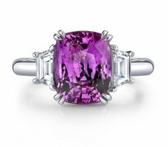 pink sapphire and diamond platinum ring