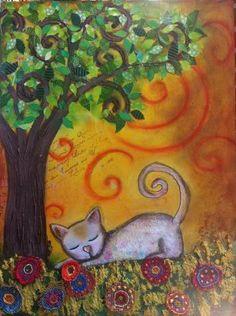 Cuadritos De Colores Sesteando A La Sombrita  Este gato esta muy a gustito tumbado soñando a la sombra de un árbol. Si quieres ver mas entra en https://www.facebook.com/cuadritos.decolores.7