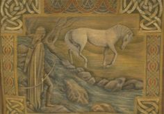 Beautiful tapestry with a horse by a stream.