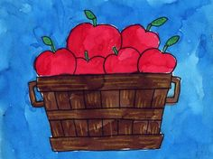 This is a good project for young artists because the basket is symmetrical, and the apples are easy to layer. If you can, try adding brown and yellow crayon lines to the basket before painting with watercolor for a bit of extra texture. • View and download Bushel of Apples Tutorial