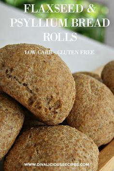 Low Carb Flaxseed & Psyllium Bread Rolls - Divalicious Recipes #HowHealthyIsNutritionForYou Low Carb Wraps, No Bread Diet, Best Keto Bread, Gluten Free Recipes, Bread Recipes, Keto Recipes, Healthy Recipes, Dessert Recipes, Keto Desserts