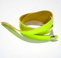 Bracciale Simple Neon Fluo Yellow  Bracciale da indossare a più giri (pelle)  Multiloop bracelet (leather)