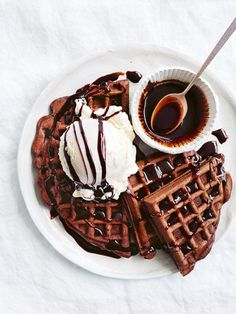 chocolate chai waffles with spiced chocolate syrup