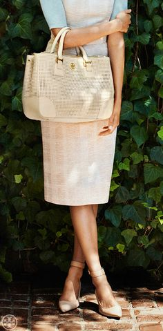 Complement pale shades with neutral shoes: Tory Burch Bronwen Pump