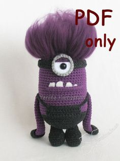 Scary cute violet monster amigurumi crochet pattern by jasminetoys Minion Crochet, Crochet Amigurumi, Amigurumi Patterns, Crochet Dolls, Crochet Patterns, Crochet Hats, Knitting Patterns, Love Crochet, Crochet For Kids