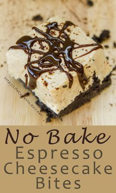 No Bake Espresso Cheesecake Bites are so easy to make, and amazingly delicious! Make them today! No Bake Espresso Cheesecake Bites are so easy to make, and amazingly delicious! Make them today! Coffee Cheesecake, Chocolate Cheesecake Recipes, Cheesecake Bites, Homemade Cheesecake, Raspberry Cheesecake, No Bake Desserts, Easy Desserts, Delicious Desserts, Dessert Recipes