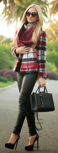 Stunning Pumps Legging Purse And Plaid Jacket