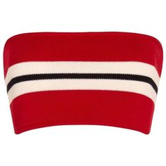 Etienne Deroeux Striped Bandeau Knit ($225) ❤ liked on Polyvore featuring tops, crop top, shirts, red, bralets, striped crop top, red striped shirt, stripe shirt and bralette crop top - shirt designer, peach button down shirt, fitted mens shirts *ad