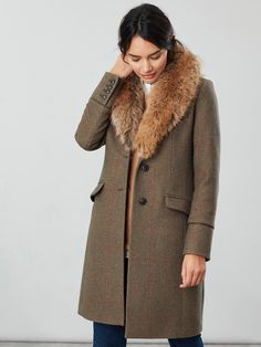 Joules Langley Longline Coat With Faux Fur Trim - Green Tweed, Green, Size Women - Green - 14 Faux Fur Collar, Fur Collars, Boys Rain Boots, Long Faux Fur Coat, Womens Clearance, Long A Line, Fur Trim, Outfit Sets, Tweed