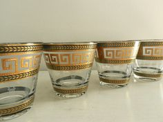 Vintage Culver Glasses Greek Key Barware Old Hollywood Regency Decor Set of Four. Hollywood Regency Decor, Old Hollywood Style, Greek Design, Key Design, Architecture Design, Greek Decor, Tiki Decor, Beautiful Interior Design, Vintage Bar