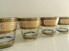 Vintage Culver Glasses Greek Key Barware Old Hollywood Regency Decor Set of Four. $80.00, via Etsy.