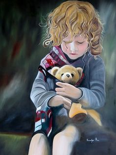 FINEARTSEEN - View Grace & Teddy by Jennefer Ann. A beautiful original oil painting of a girl with her teddy bear. Available on FineArtSeen - The Home Of Original Art. Enjoy Free Delivery with every order. << Pin For Later >>